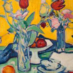 Tulips and Cups, by Samuel John Peploe (1871-1935), painting, oil on canvas, The Hunterian Art Gal