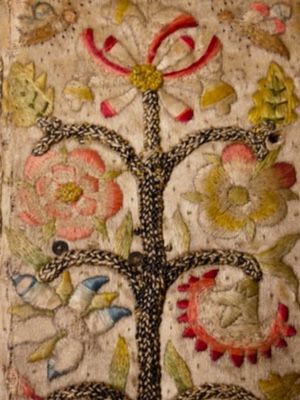 Detail of embroidered book, The Whole Book of Psalms (1636), showing a Tree of Life on silk, Glasgow University Special Collections