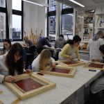 Colour photographs showing Technical Art History students participating in a workshop