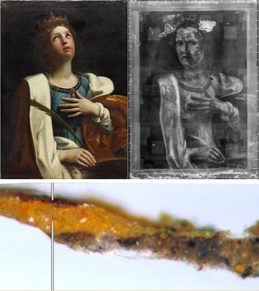Collage of photographs illustrating the Technical Art History Group's contributions to the Take an Object exhibition at the Hunterian in 2019. The photographs show the painting of Saint Catherine by Guido Reni, together with an x-ray image of the painting that reveals a hidden portrait of a woman, and a cross-section taken from the right-hand side shows the paint layers used to construct the drapery and the ground layer. (Sample photography courtesy of Jean Rowe)