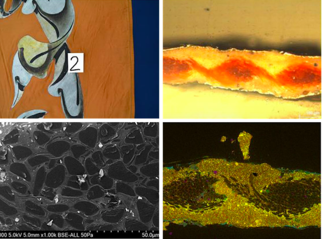 Set of four images to illustrate the use of of ion milling for cross-section samples of painted textile. The images are arranged to show clockwise from top left, An except of a painted textile banner with sample location; Sample under light microscopy dark field ×50 magnification that shows the different layers of textile and paint; SEM-EDX analysis of sample cross-section showing the presence of lead indicated in yellow; Sample cross-section ion-milled ×1000 magnification