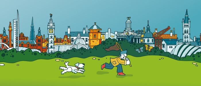 Graphic artwork for the hands-on(line) 3 theme at Science on the Sofa, the online event at the Glasgow Science Festival 2020. The poster is drawn in cartoon style and shows a dog and a man running with a net across grass trying to catch a butterfly, with Glasgow landmark buildings in the distance including museums, statues, and the Tolbooth (copyright Glasgow Science Festival/University of Glasgow)