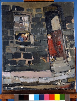 Glasgow Close (c. 1956), by Joan Eardley (1921-1963), painting, oil on canvas, Hunterian Art Gallery, University of Glasgow