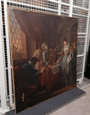Colour photograph showing a viewing The Abdication of Mary, Queen of Scots (GLAHA:43874), painting by Gavin Hamilton (1765-1775) as part of the provenance research