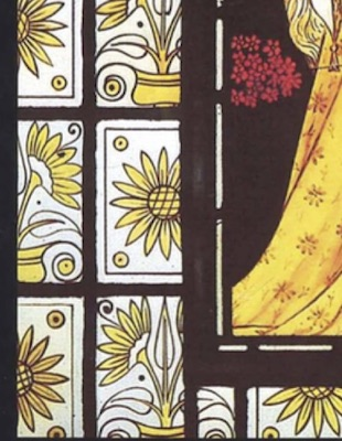 Detail of stained glass by Daniel Cottier, Beauty, Cairndhu House, 1873
