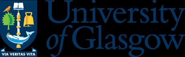 Colour logo of the University of Glasgow showing the University crest alongside the organisation name